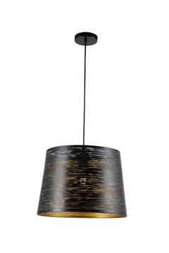 Εικόνα της Φωτιστικό Κρεμαστό Μονόφωτο Μαύρο/Χρυσό Διάτρητο Lambario L96-11