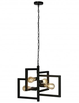 Εικόνα της Φωτιστικό Κρεμαστό Τετράφωτο Μαύρο Μεταλλικό Κορνίζες 4x40W Lambario