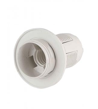 Εικόνα της Πλαστικό Ντουί Λαμπτήρα Ε14 με ροδέλα Λευκό