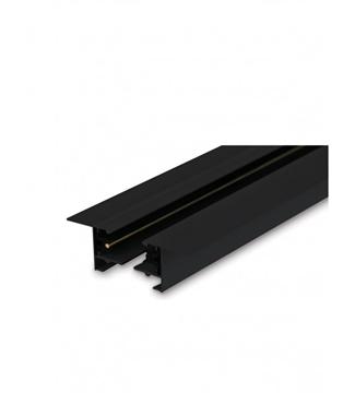 Εικόνα της Ράγα Φωτισμού Αλουμινίου Χωνευτή Μαύρη 1m Για Φωτιστικά Ράγας 2 Καλωδίων Lambario