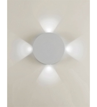 Εικόνα της Φωτιστικό Απλίκα Στρογγυλή LED Λευκό/Αλουμίνιο 4x1W 4200K 260Lm IP65 Lambario