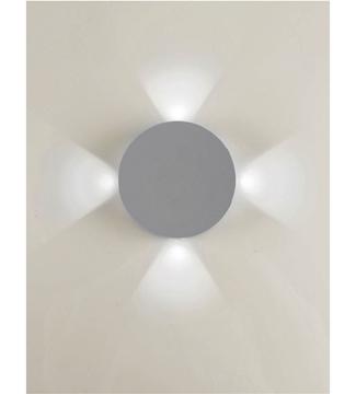Εικόνα της Φωτιστικό Απλίκα Στρογγυλή LED Γκρί/Αλουμίνιο 4x1W 4200K 260Lm IP65 Lambario