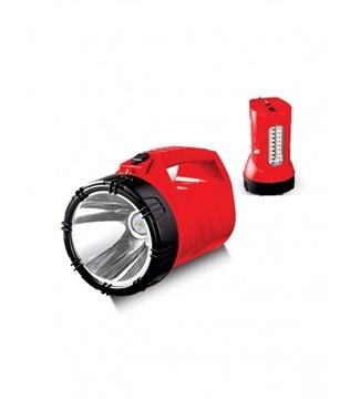 Εικόνα της Φακός LED Επαναφορτιζόμενος Διπλής Λειτουργίας Κόκκινος Με Χειρολαβή 10W 6400K 10Hours  Lambario