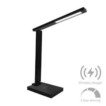 Εικόνα της Φωτιστικό Γραφείου LED 6W 4000K Με USB & Ασύρματη Φόρτιση  Μαύρο Αφής 420Lm  3stepsDim FOS ME 17-00115-2