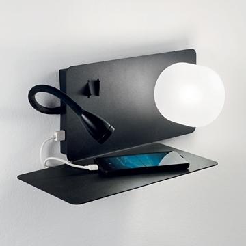 Εικόνα της Φωτιστικό Απλίκα BOOK-2 AP NERO 174846 Ideal Lux
