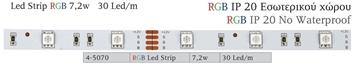 Εικόνα της LED ΤΑΙΝΙΑ 7,2W IP20 RGB 30PCS (5Μ)