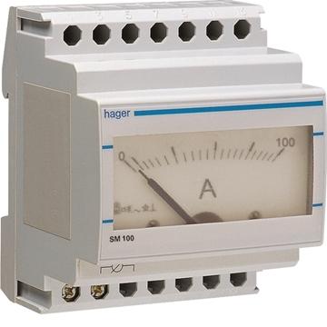 Εικόνα της Αμπερόμετρο Αναλογικό 0-100Α Μέσω Μ/Σ Hager SM100