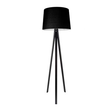Εικόνα της Φωτιστικό Δαπέδου Μαύρο με υφασμάτινο καπέλο Χρώματος Μαύρο lambario