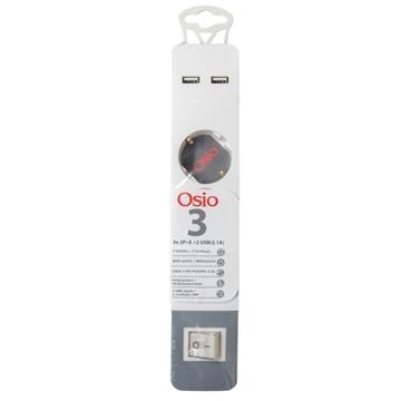 Εικόνα της Osio OPS-3003 Πολύπριζο 3 θέσεων με παιδική προστασία, 2 USB, διακόπτη και καλώδιο 1.5 m