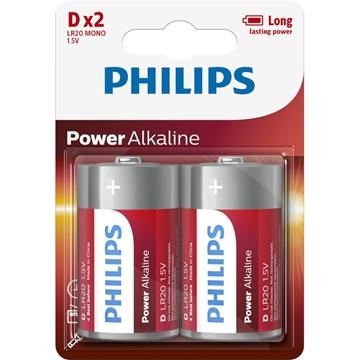 Εικόνα της LR20P2B/GRS POWER Αλκαλικές Μπαταρίες Υψηλής Απόδοσης 2 ΤΜΧ Mono D LR20 1.5V Philips