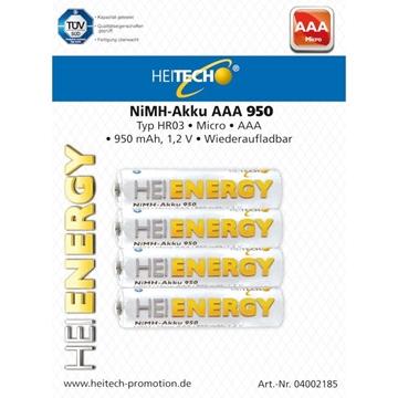 Εικόνα της Heitech 04002185 Επαναφορτιζόμενες μπαταρίες Ni-Mh 4 τμχ ΑΑΑ HR03 Micro 950 mAh 1.2 V