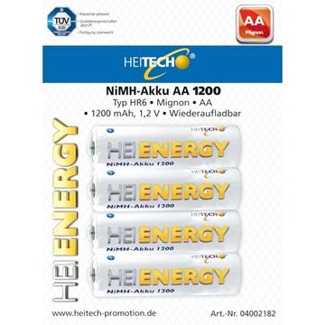 Εικόνα της Heitech 04002182 Επαναφορτιζόμενες μπαταρίες Ni-Mh 4 τμχ HR6 AA 1200mAh 1.2V