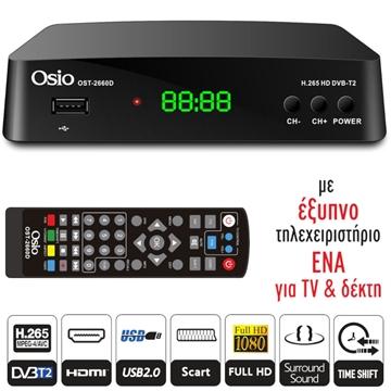 Εικόνα της Osio OST-2660D DVB-T/T2 Full HD H.265 MPEG-4 Ψηφιακός δέκτης με USB και χειριστήριο για TV : δέκτη