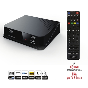 Εικόνα της Osio OST-2670D DVB-T/T2 Full HD H.265 MPEG-4 Ψηφιακός δέκτης με USB και μεγάλο χειριστήριο για TV : δέκτη