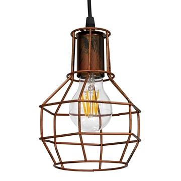 Εικόνα της GloboStar® CAGE 00866 Vintage Industrial Κρεμαστό Φωτιστικό Οροφής Μονόφωτο Καφέ Σκουριά Μεταλλικό Πλέγμα Φ15 x Y22cm