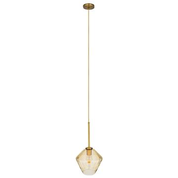 Εικόνα της GloboStar® AMARIS 00869 Μοντέρνο Κρεμαστό Φωτιστικό Οροφής Μονόφωτο Γυάλινο Φιμέ Μελί Φ22 x Υ22cm
