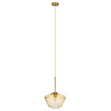 Εικόνα της GloboStar® AMARIS 00870 Μοντέρνο Κρεμαστό Φωτιστικό Οροφής Μονόφωτο Γυάλινο Φιμέ Μελί Φ30 x Υ22cm