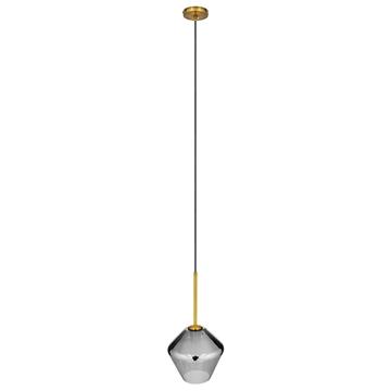 Εικόνα της GloboStar® AMARIS 00872 Μοντέρνο Κρεμαστό Φωτιστικό Οροφής Μονόφωτο Γυάλινο Φιμέ Νίκελ Φ22 x Υ22cm
