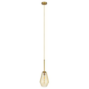 Εικόνα της GloboStar® AMARIS 00871 Μοντέρνο Κρεμαστό Φωτιστικό Οροφής Μονόφωτο Γυάλινο Φιμέ Μελί Φ17 x Υ30cm