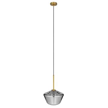 Εικόνα της GloboStar® AMARIS 00873 Μοντέρνο Κρεμαστό Φωτιστικό Οροφής Μονόφωτο Γυάλινο Φιμέ Νίκελ Φ30 x Υ22cm