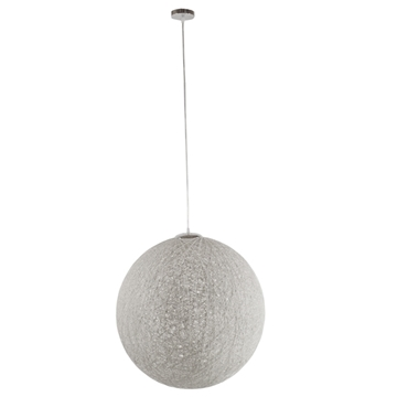 Εικόνα της  Vintage Κρεμαστό Φωτιστικό Οροφής Μονόφωτο Λευκό Ξύλινο Ψάθινο Rattan Φ60 GloboStar KETTLE 01363