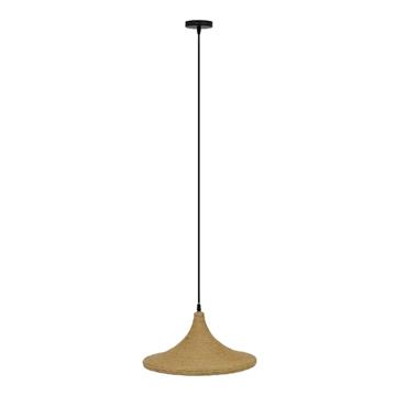 Εικόνα της GloboStar® SHANGHAI ROPE 00917 Μοντέρνο Κρεμαστό Φωτιστικό Οροφής Μονόφωτο με Μπεζ Σχοινί Καμπάνα Φ37 x Υ20cm