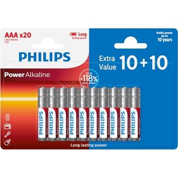 Εικόνα της Philips LR03P20BP/GRS Power Alkaline Αλκαλικές Μπαταρίες Υψηλής Απόδοσης AAA (20τμχ)