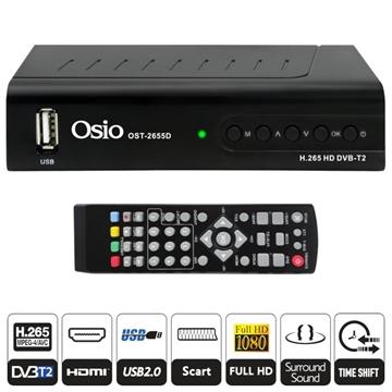 Εικόνα της Osio OST-2655D DVB-T/T2 Full HD H.265 MPEG-4 Ψηφιακός δέκτης με USB