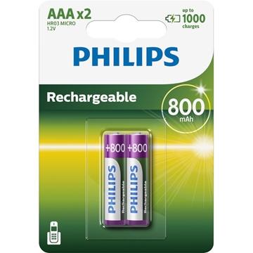 Εικόνα της Philips R03B2Α80/GRS Επαναφορτιζόμενες Μπαταρίες Προ-φορτισμένες Ni-Mh 2τμχ HR03 AAA 800mAh 1.2V