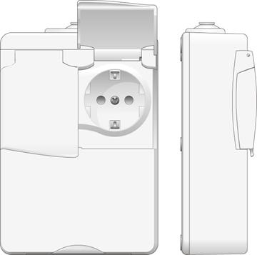 Εικόνα της Πρίζα Σούκο Διπλή Φορητή Εξωτερική Λευκό & Ρελέ Προστασίας 2x40A Protector