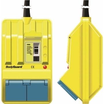 Εικόνα της Πρίζα Σούκο Διπλή Φορητή Εξωτερική Κίτρινη & Ρελέ Προστασίας 2x40A  BodyGuard